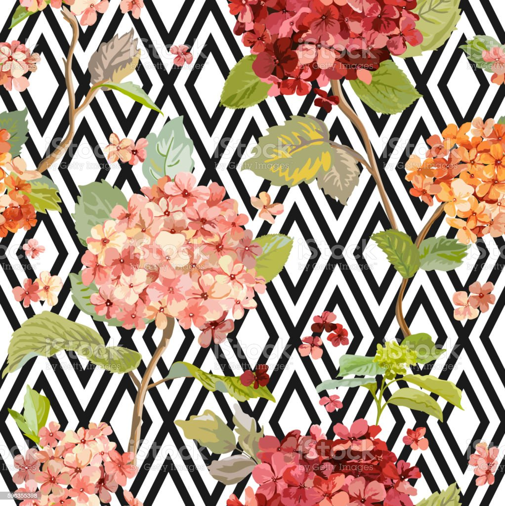 Vintage Hortensia Flowers - Floral Geometric Background - Seamless Pattern royalty-free vintage hortensia flowers floral geometric background seamless pattern stock vector art & more images of blossom