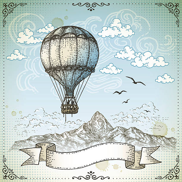 Vintage Hot Air Balloon Hand drawn illustration.EPS 10 file contains transparencies. File is grouped,layered with global colors.More works like this linked below. hot air balloon stock illustrations