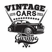 Hot Rod garage emblem design, emblem of muscle car repair and service organisation, retro car garage print stamps, hot rod typography emblem, Vector