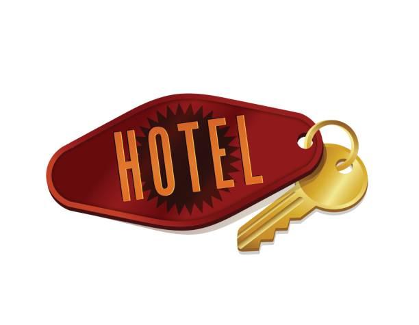 vintage hotel/motel room key. vector illustration. - travel agent stock illustrations, clip art, cartoons, & icons