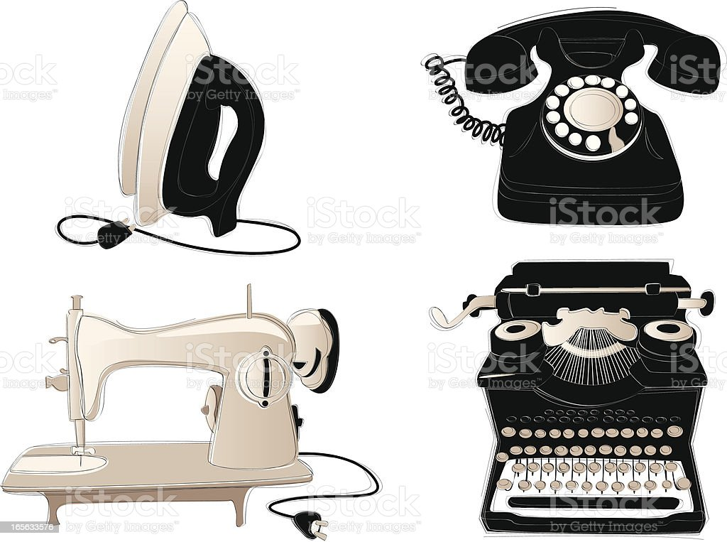 Vintage Household Items royalty-free stock vector art