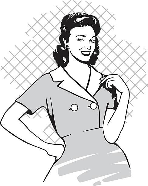 retro hausfrau - hausfrau stock-grafiken, -clipart, -cartoons und -symbole