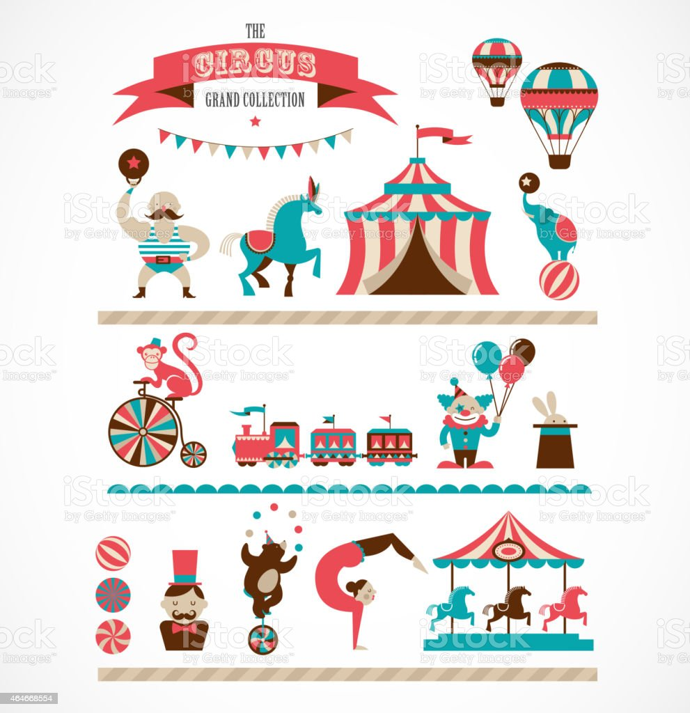 vintage huge circus collection with carnival, funfair, vector icons, background vector art illustration