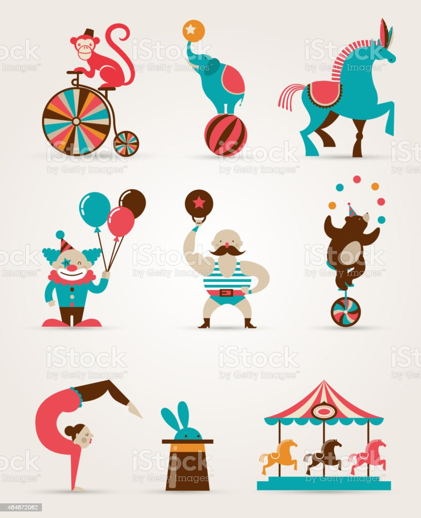Vintage Huge Circus Collection With Carnival Funfair Vector Icons Background Royalty Free
