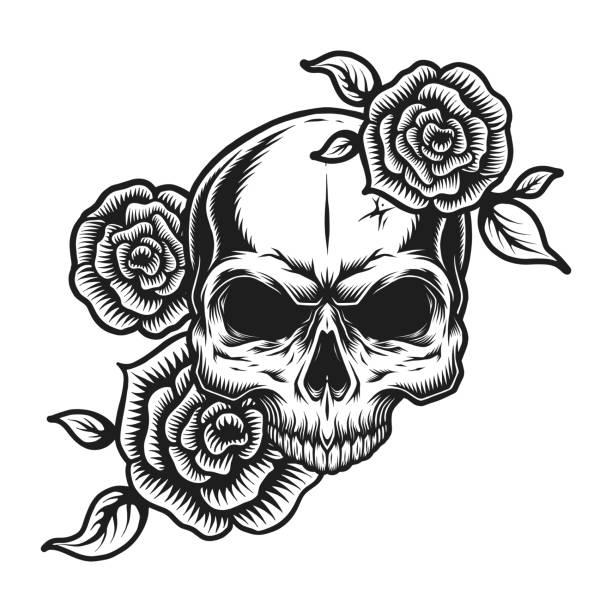 Vintage human skull tattoo concept Vintage human skull tattoo concept with rose flowers isolated vector illustration skulls tattoos stock illustrations