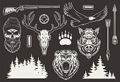 Vintage hunting elements collection