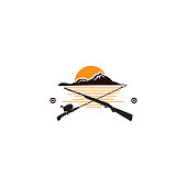 istock Vintage hunting emblems with fishing tackle and gun 1301223863
