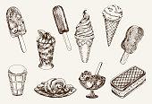 ice-cream. set of vector sketches