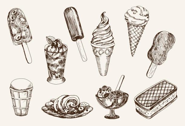 stockillustraties, clipart, cartoons en iconen met vintage ice cream artwork on cream paper - vanille roomijs