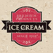 "A simple vintage styled ""Ice Cream"" label with a screen printed grunge texture. The textures are on their own layers so they're easy to remove."