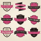 A set of vintage styled ice cream shop labels. No gradients or transparencies were used. Color swatches are global for easy color edits.