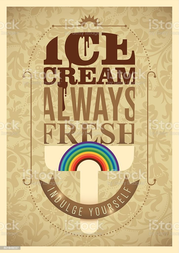 Vintage ice cream poster design. royalty-free stock vector art