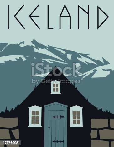A simple retro styled poster showing a traditional turf roof house against a mountain background