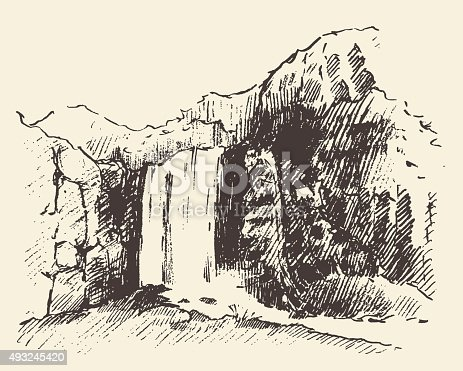 Vintage engraving illustration of beautiful waterfall hand drawn