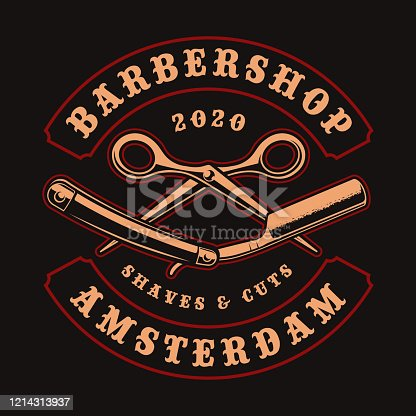 Vintage illustration for barber shop theme with scissors and razor on a dark background. This design is perfect for logos, shirt prints, and many other uses.