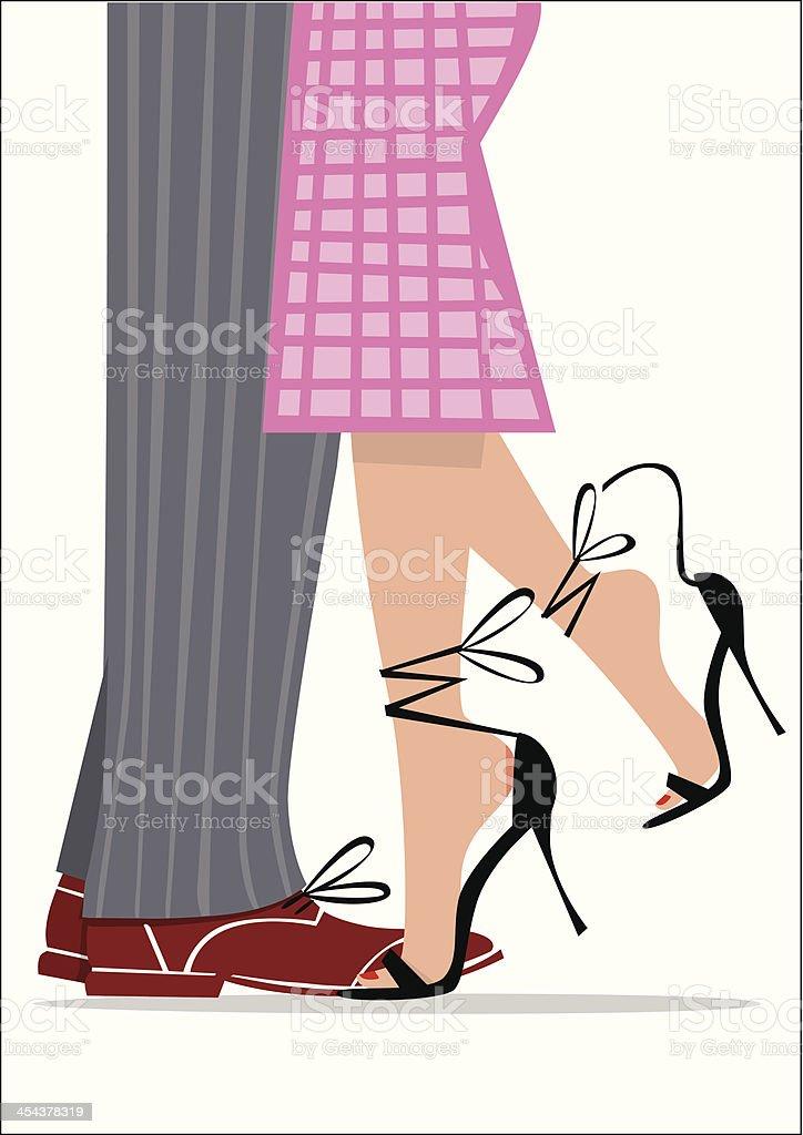 Vintage illustration of a couple dancing legs. vector art illustration