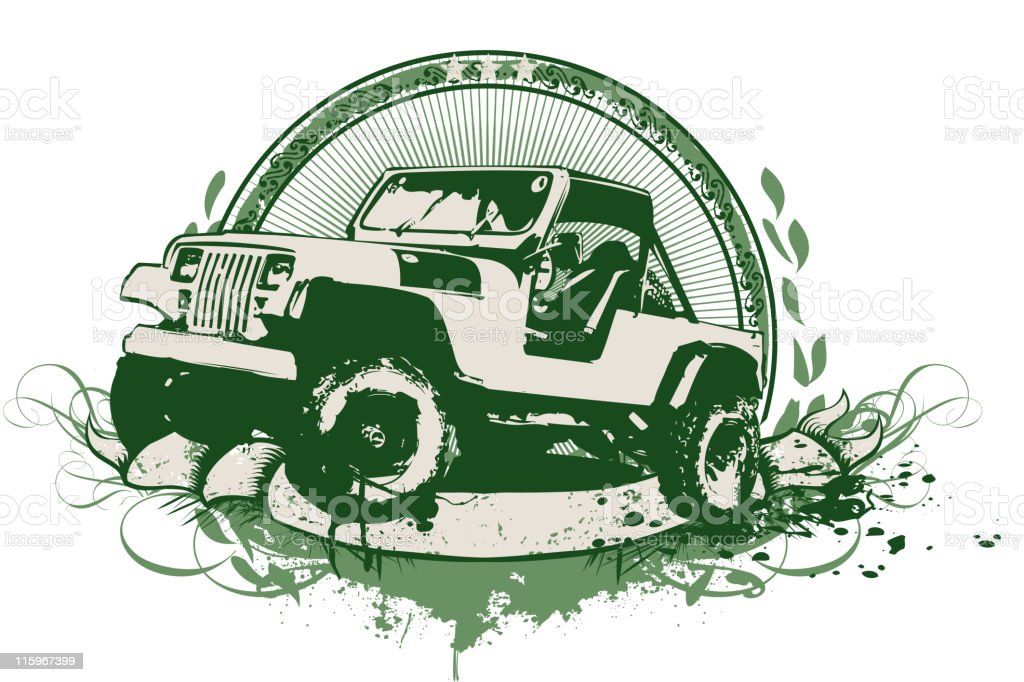 Vintage illustration of a military vehicle in green vector art illustration