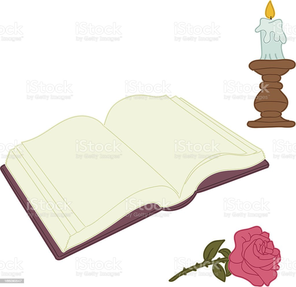 Vintage illustration of book, candle and rose royalty-free stock vector art