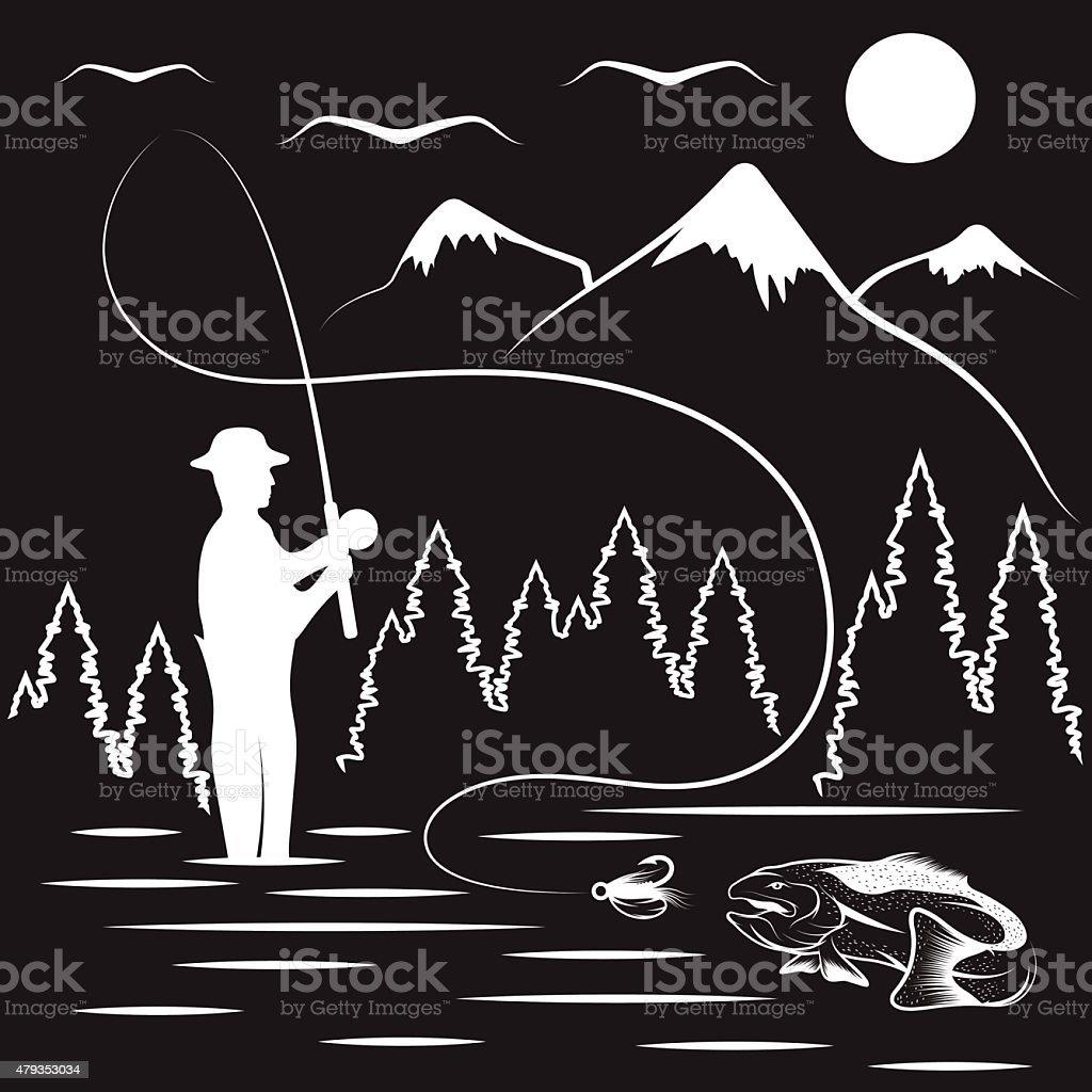 vintage illustration of fishing theme vector art illustration