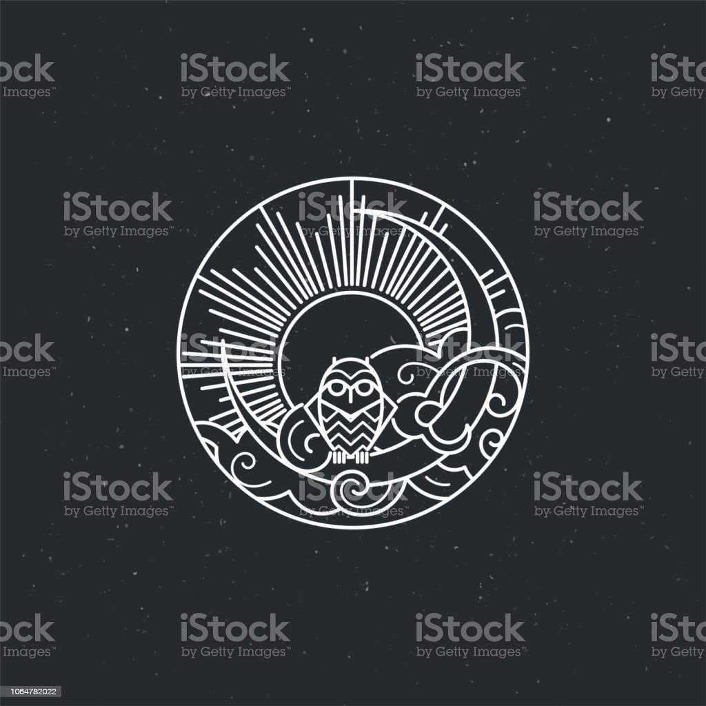 Vintage illustration of thin line owl icon with owl vector art illustration