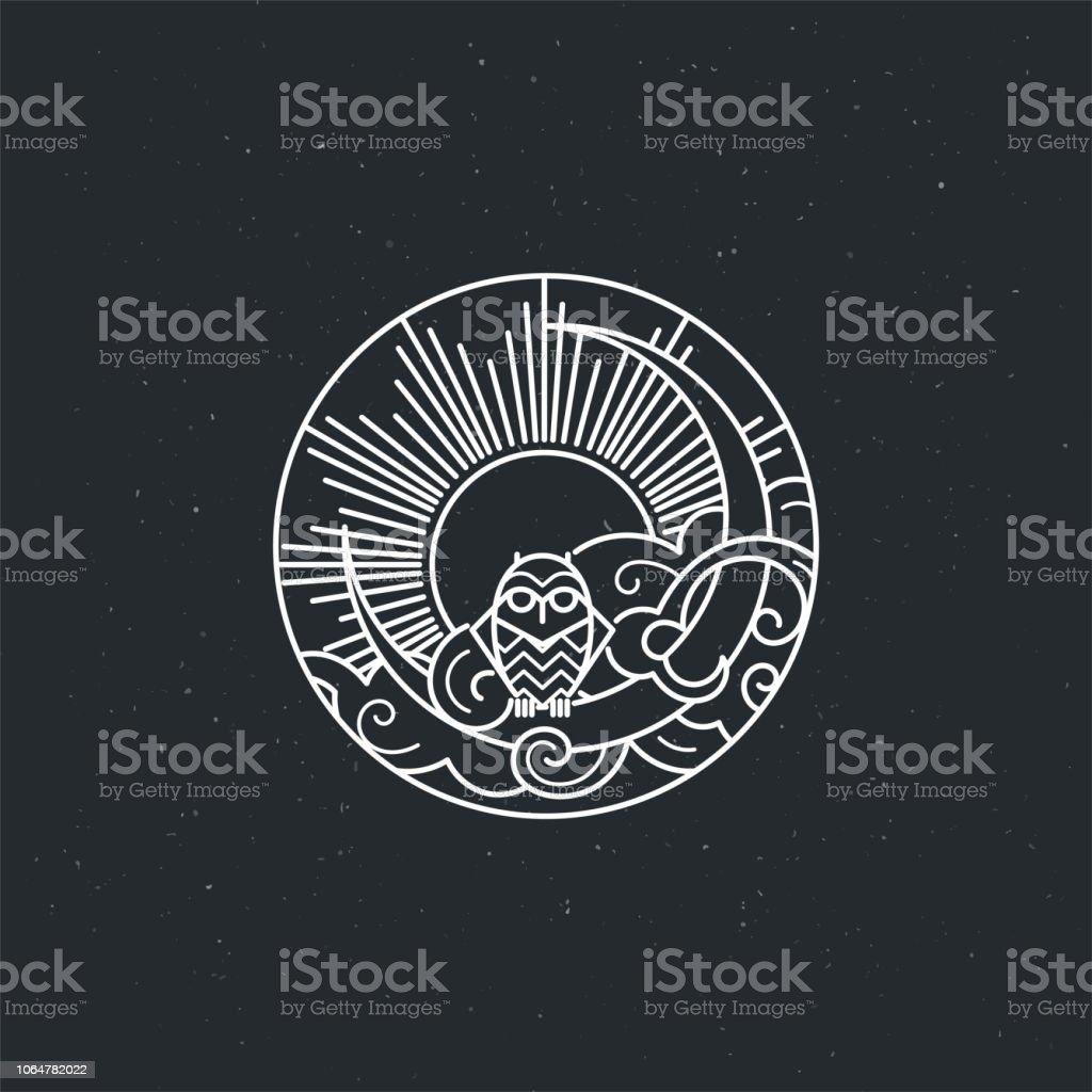 Vintage ilustración del icono de buho de delgada línea con buho - ilustración de arte vectorial