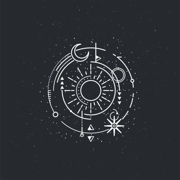 Vintage illustration of thin line sun of sacred. Vintage illustration of thin line sun of sacred. Vector graphic design logo, print, label, badge, sticker, emblem, sign, identity. alchemy stock illustrations