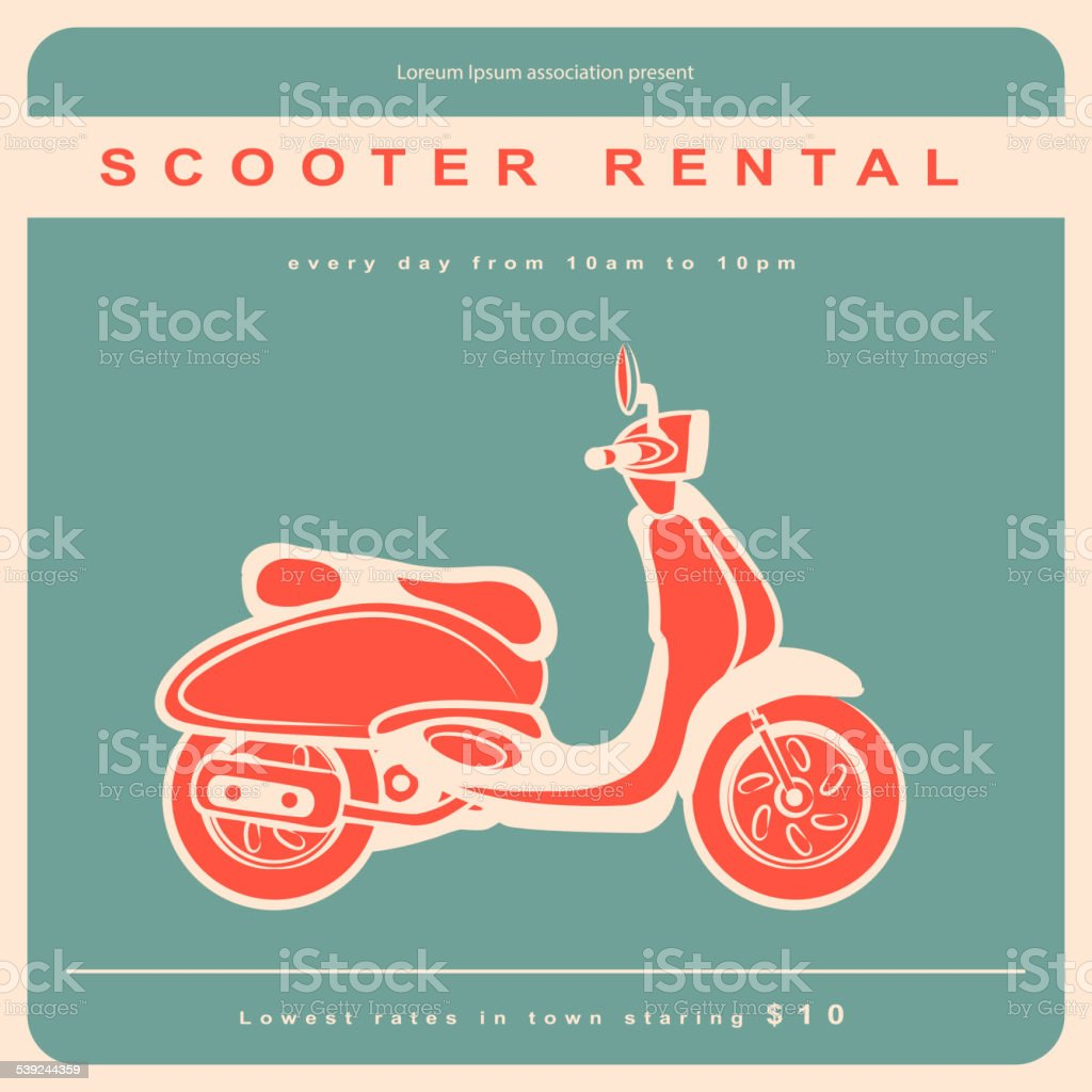 Vintage illustration with a retro scooter royalty-free vintage illustration with a retro scooter stock vector art & more images of backgrounds