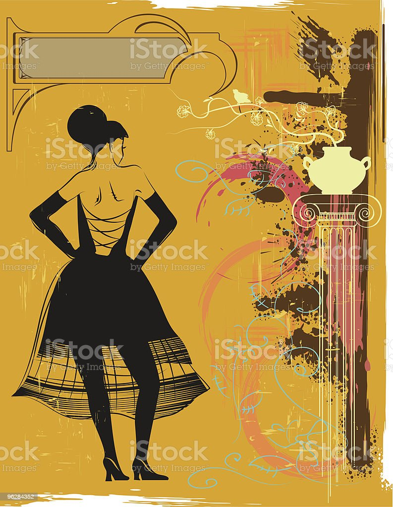 Vintage illustration with the girl royalty-free stock vector art