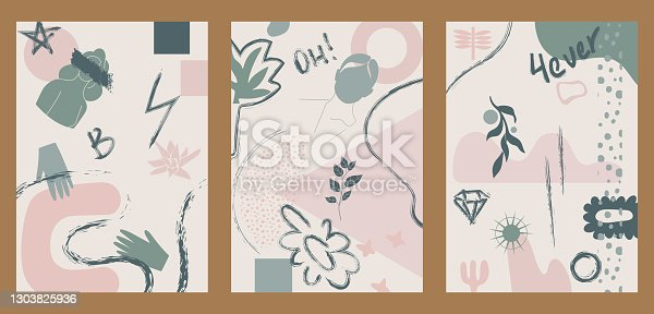istock Vintage illustrations with brush strokes, rough elements, doodles, lettering, shapes. 1303825936