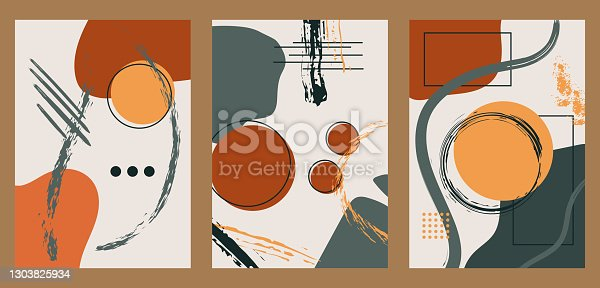 istock Vintage illustrations with brush strokes, rough elements, geometric shapes, doodles. 1303825934