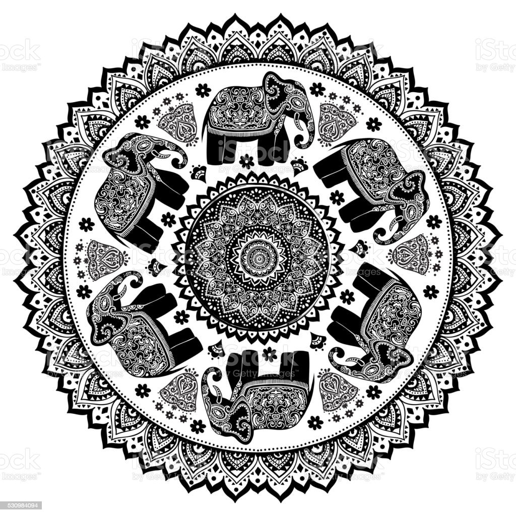 vintage indian elephant with tribal ornaments mandala greeting vector id