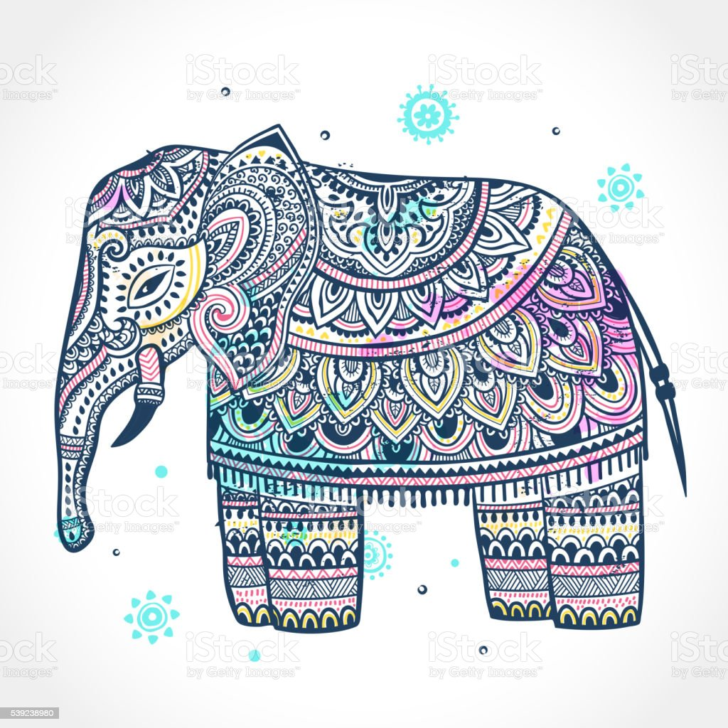 Vintage Indian elephant with tribal ornaments. Mandala greeting royalty-free vintage indian elephant with tribal ornaments mandala greeting stock vector art & more images of animal
