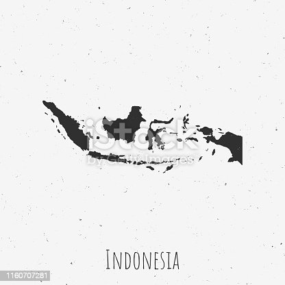 Black and white Indonesia map in trendy vintage style, isolated on a dusty white background. A grunge texture is used to have a retro and worn effect. His name is written on the bottom of the image. Vector Illustration (EPS10, well layered and grouped). Easy to edit, manipulate, resize or colorize.
