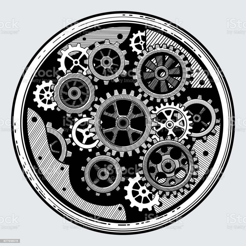 Vintage Industrial Machinery With Gears Cogwheel ...  Vintage Industr...