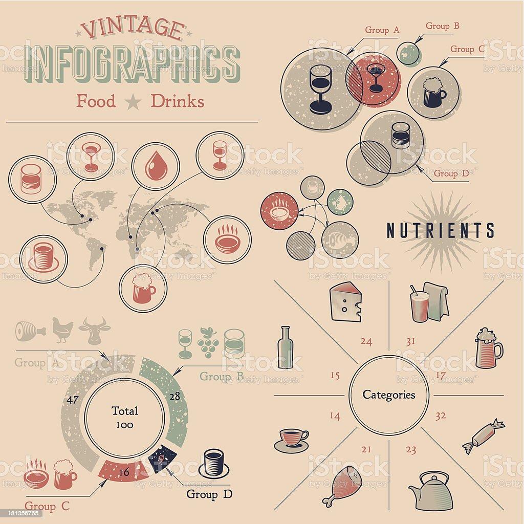 Vintage infographics design elements vector art illustration