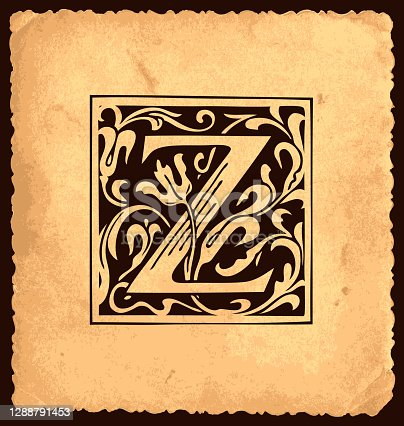 istock Vintage initial letter Z with baroque decorations 1288791453