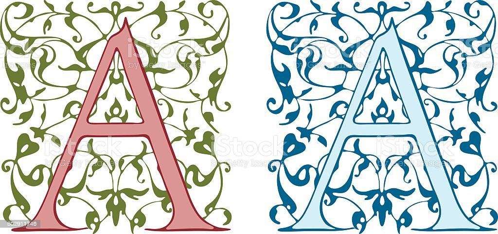 Vintage initials letter A. vector art illustration