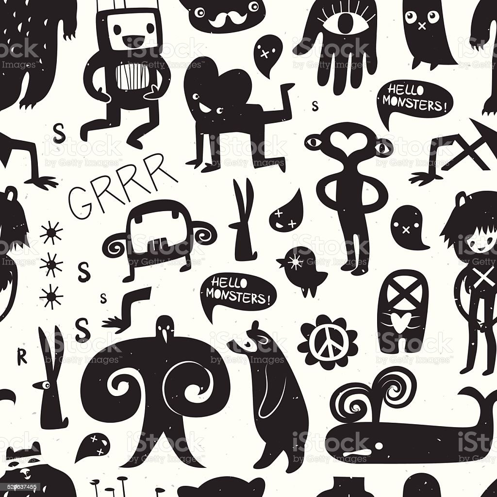 Vintage ink monsters and freaks. Seamless pattern vector art illustration