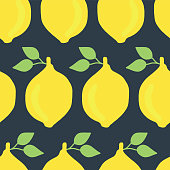 Vintage inspired lemons seamless vector pattern on a dark blue background.