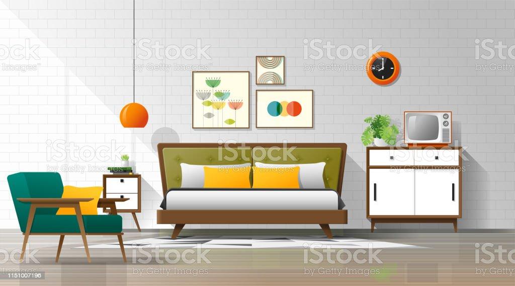 Vintage Interior Background With Mid Century Modern Bedroom ...