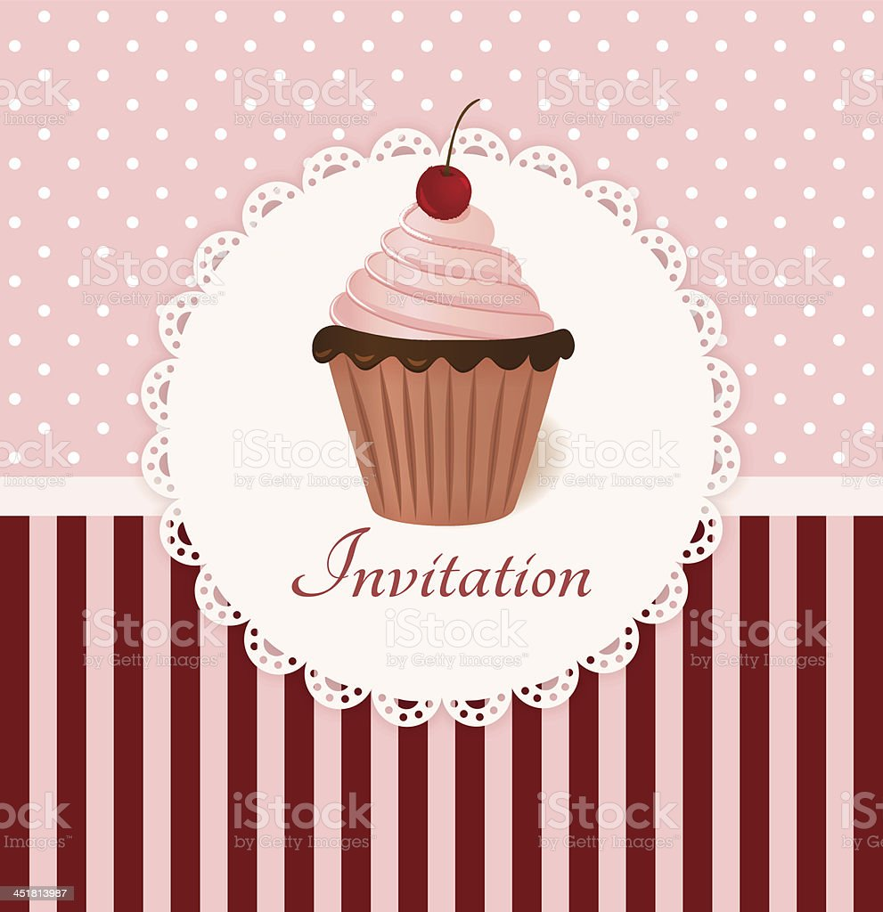 Vintage invitation card with cherry cream cake. royalty-free stock vector art