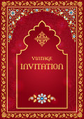 Vintage invitation or greeting card temlate. Ornate background in red and gold. Arabic, Persian, Indian Muslim style
