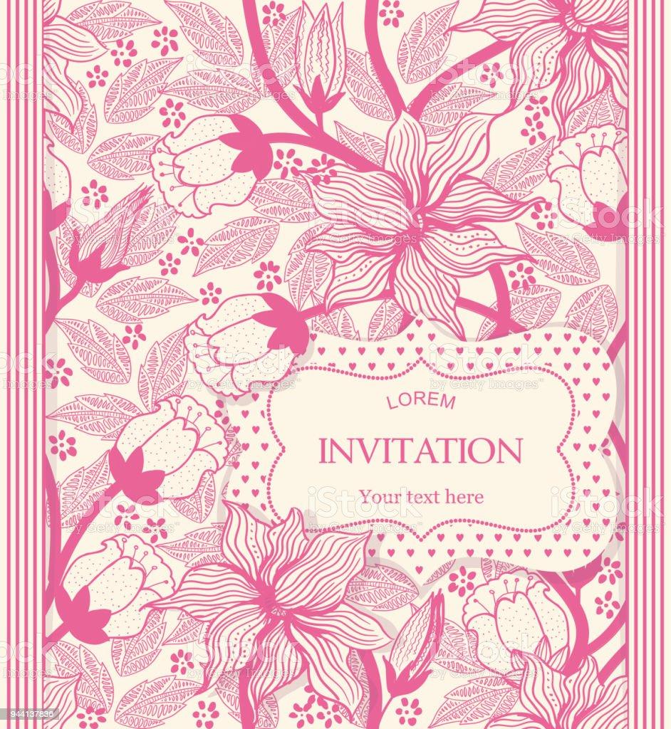 Vintage Einladung Oder Hochzeitskarte Mit Rotem Blumenmuster Im ...