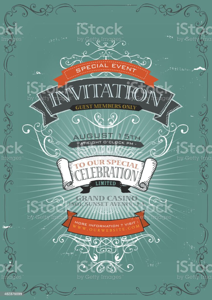 Vintage Invitation Poster Background vector art illustration