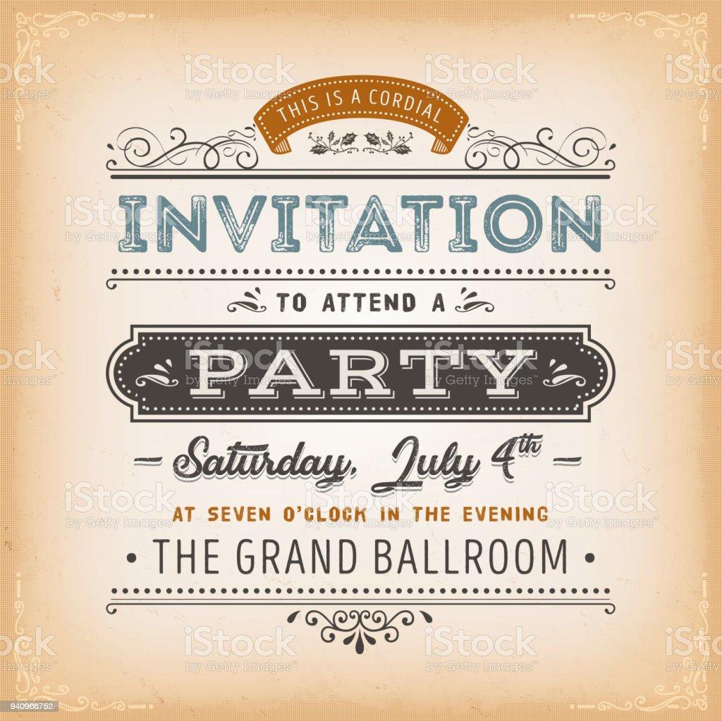 パーティー カードにビンテージの招待状 お祝いのベクターアート素材や