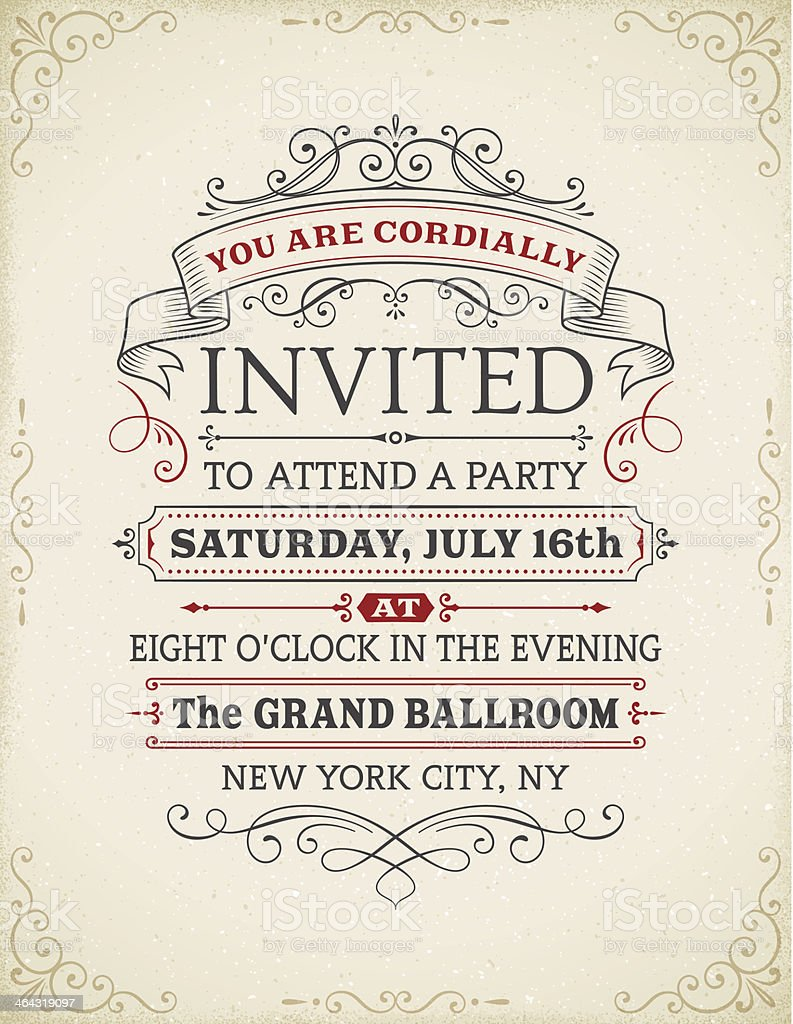 Vintage Invitation vector art illustration