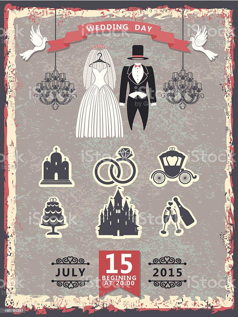 Vintage Einladung Mit Hochzeit Kleidung Und Symbole Lizenzfreies Vintage  Einladung Mit Hochzeit Kleidung Und Symbole Stock