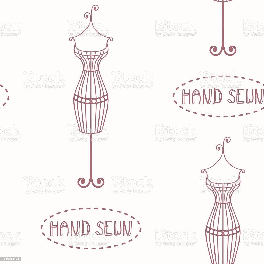 Ilustración de Vintage Patrón Sin Costuras De Hierro S Mannequin ...