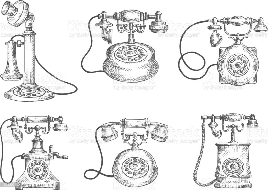 Vintage isolated rotary dial telephones sketches vector art illustration