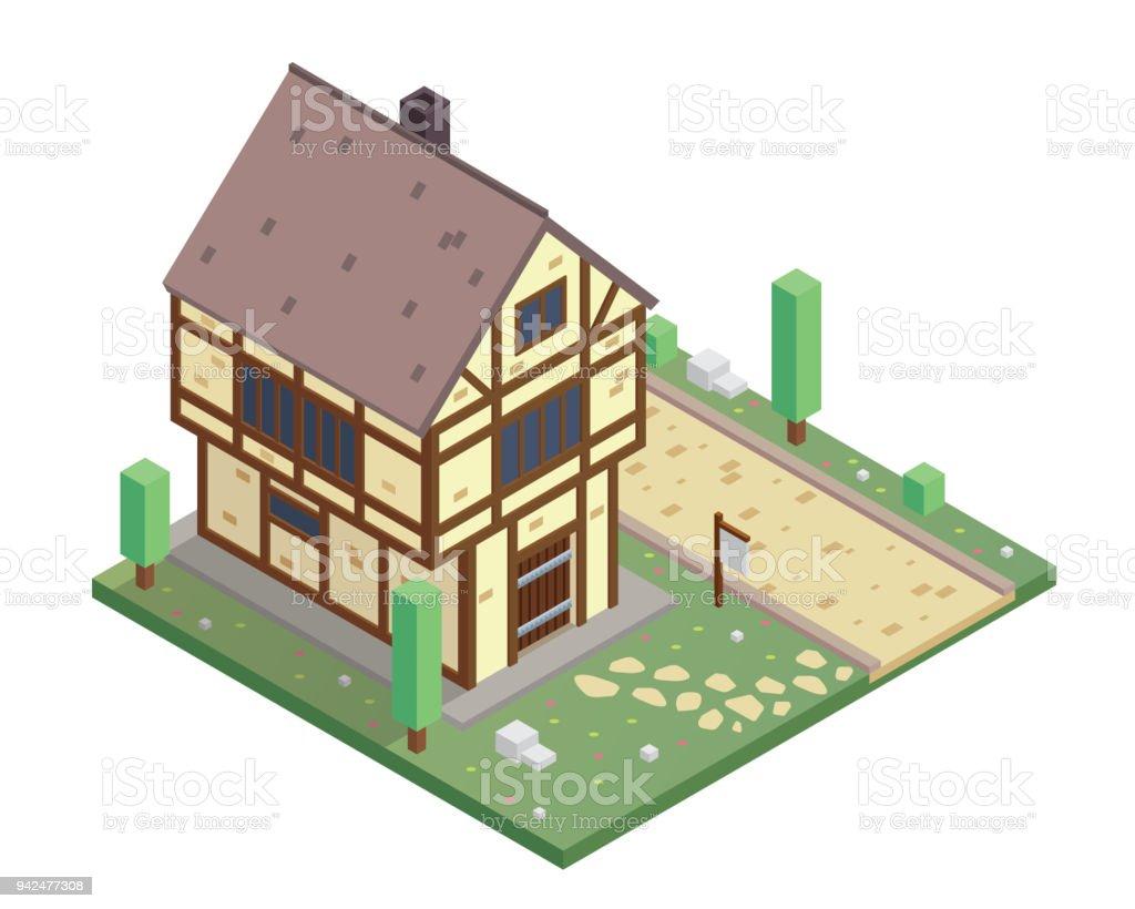 Casa residencial histórico Medieval isométrica Vintage ilustración - ilustración de arte vectorial